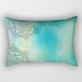 MANDALA COLLAGE ON Aqua Watercolor Rectangular Pillow
