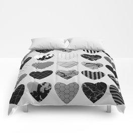 Metallic Love - Hexagon, stripes, triangles, geometric, marble, paint splat hearts! Comforters