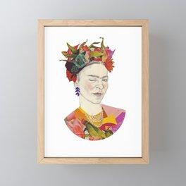 Winking Frida Kahlo collage Framed Mini Art Print