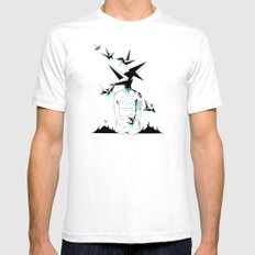 Origami's dream - A collaboration between Christelle Guilhen and Gwenola de Muralt - SMALL Mens Fitted Tee White