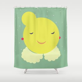 miss sunshine with a collar and snowfall Shower Curtain