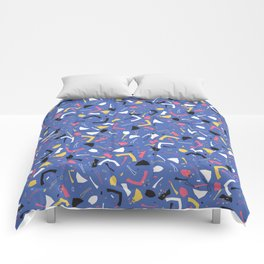 Memphis Style Confetti Sprinkles Seamless Vector Pattern, Drawn Doodle Art Geometric Shape Comforters