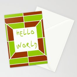 hello world 5 green and brown Stationery Cards
