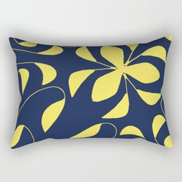 Leafy Vines Yellow and Navy Blue Rectangular Pillow