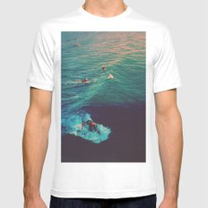 Ride the Wave Mens Fitted Tee White MEDIUM
