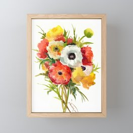 Flowers, Buttercups, orange red white yellow garden floral design Framed Mini Art Print