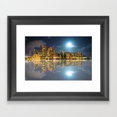 Honolulu City Lights Framed Art Print