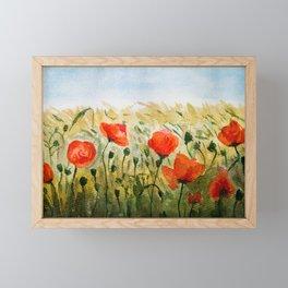Poppy Flower Field Framed Mini Art Print