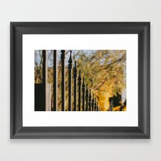 iron fence, yellow leaves Framed Art Print