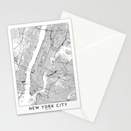 New York City White Map Stationery Cards