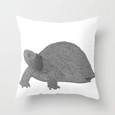 Turtle Illustration B/W Throw Pillow