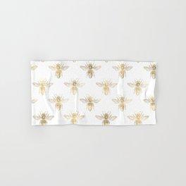 Gold Bee Pattern Hand & Bath Towel