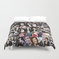 harry styles Duvet Covers featuring Harry Styles - Collage by Pepe the frog