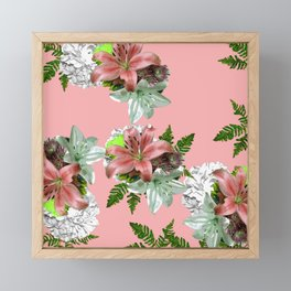 LILY PINK AND WHITE FLOWER Framed Mini Art Print