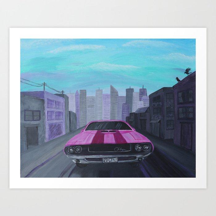 Pink Dodge Challenger Art Print
