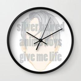 Silver Hair Anime Boys Wall Clock