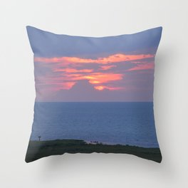 sunset over the sound (with a couple of cables removed) Throw Pillow