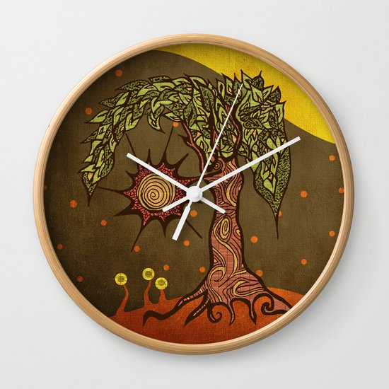 "Mystic tree Dia by Pom Graphic Design & Viviana Gonzalez"" Wall Clock"