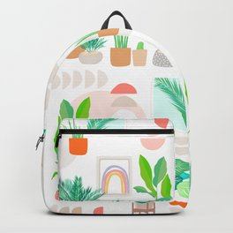 Mid Century Modern Tropical Plant pattern Backpack