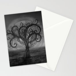 Golden Spiral Tree Black and White Stationery Cards
