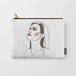 Woman with long hair and red lipstick. Abstract face. Fashion illustration Carry-All Pouch