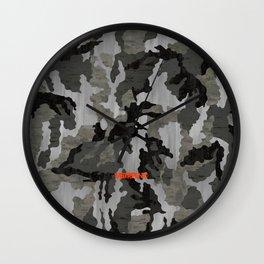 Modern Woodgrain Camouflage / Winter Birch Woodland Print Wall Clock