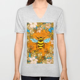 Bumblebee In Wild Rose Wreath Unisex V-Neck