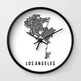 Los Angeles Typographic Map Wall Clock