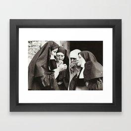 Nuns Smoking Framed Art Print
