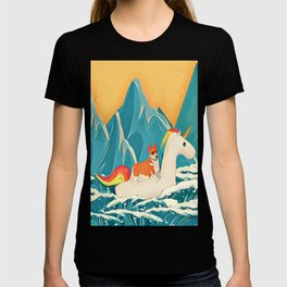 Corgi and the rainbow unicorn T-shirt