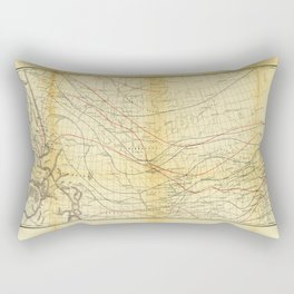 Isothermal Chart North of the 36th Parallel between the Atlantic & Pacific Oceans (1859) Rectangular Pillow