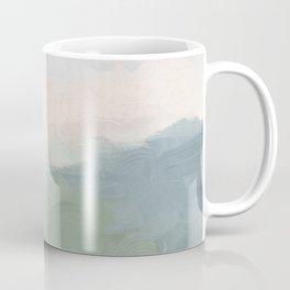 Seafoam Green Mint Black Blush Pink III Abstract Nature Land Art Painting Art Coffee Mug