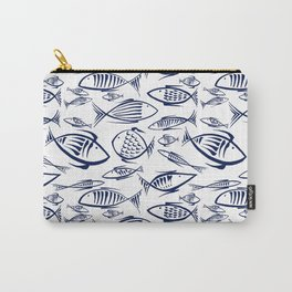 Small blue Fishes on white Carry-All Pouch