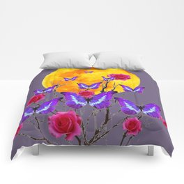 PURPLE COLOR  FULL MOON PURPLE BUTTERFLIES Comforters