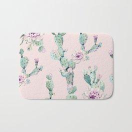 Cactus Rose Pattern on Pink Bath Mat