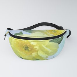 Yellow Peony Bouquet on Painted Sky Fanny Pack