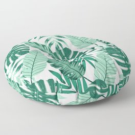 Green Monstera Leaves Floor Pillow