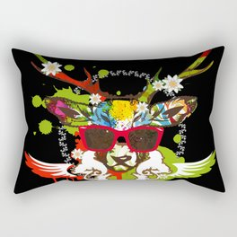 A stag's head with red sunglasses Rectangular Pillow
