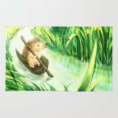 Hedgehog on a journey Rug