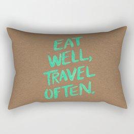 Eat Well, Travel Often on Mint Rectangular Pillow