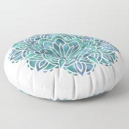Mandala Succulent Blue Green Floor Pillow