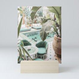 Travel Photography Art Print | Tropical Plant Leaves In Marrakech Photo | Green Pool Interior Design Mini Art Print