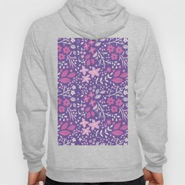 Floral doodles in pink and violet Hoody