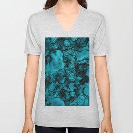 Blue Gemstone and Ink Malachite Glitter Marble Unisex V-Neck