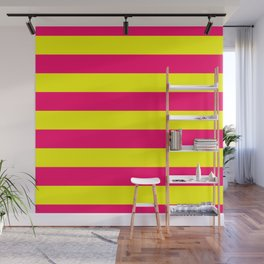 Bright Neon Pink and Yellow Horizontal Cabana Tent Stripes Wall Mural
