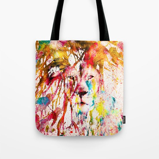 Wild Lion Sketch Abstract Watercolor Splatters Tote Bag