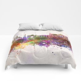 Cordoba skyline in watercolor background Comforters