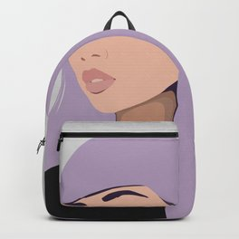 Harlow - portrait of a woman with purple hair Backpack