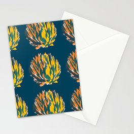 Succulent yellow fire colors pattern design for plant lovers Stationery Cards