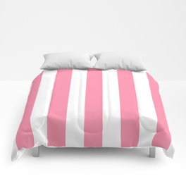 Flamingo pink - solid color - white vertical lines pattern Comforters